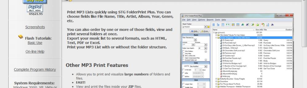 Print MP3 List page